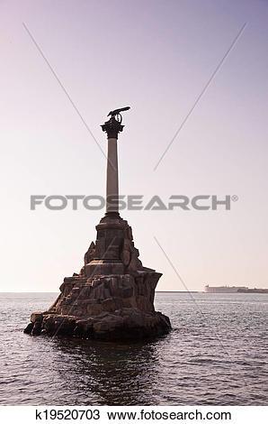 Stock Photo of Scuttled Warships Monument in Sevastopol, Crimea.