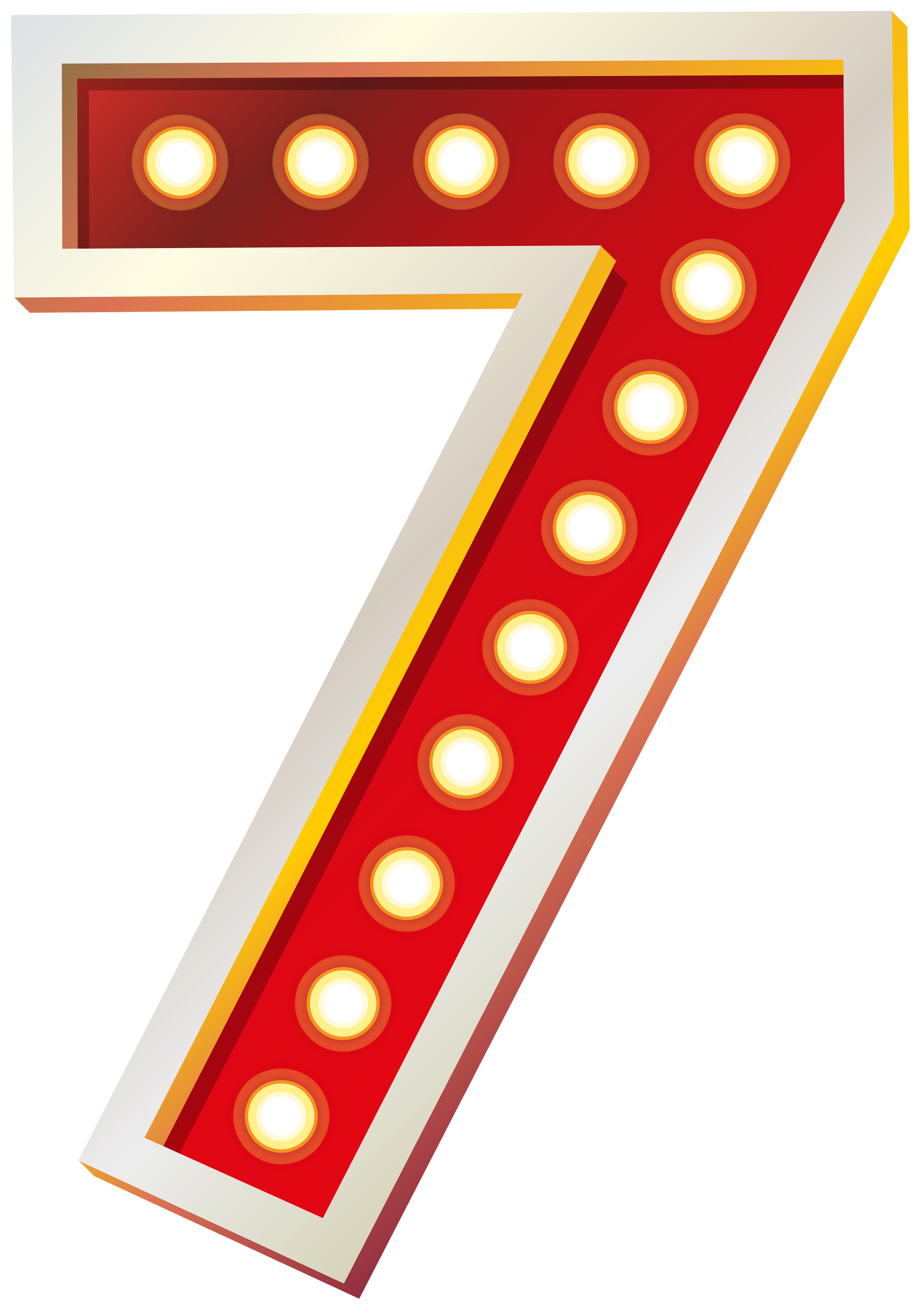 Red Number Seven with Lights PNG Clip Art Image.