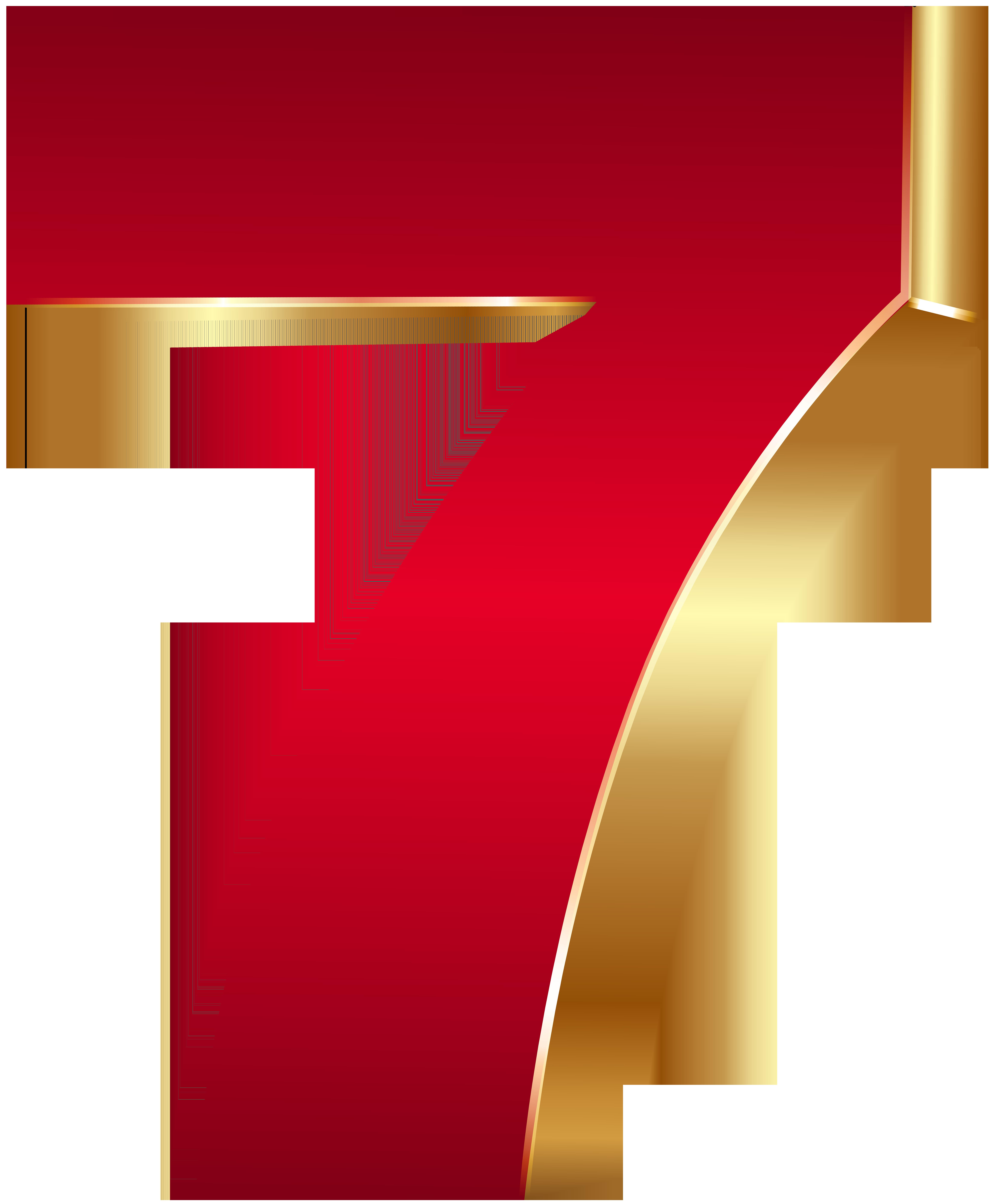3D Number Seven Red Gold PNG Clip Art Image.