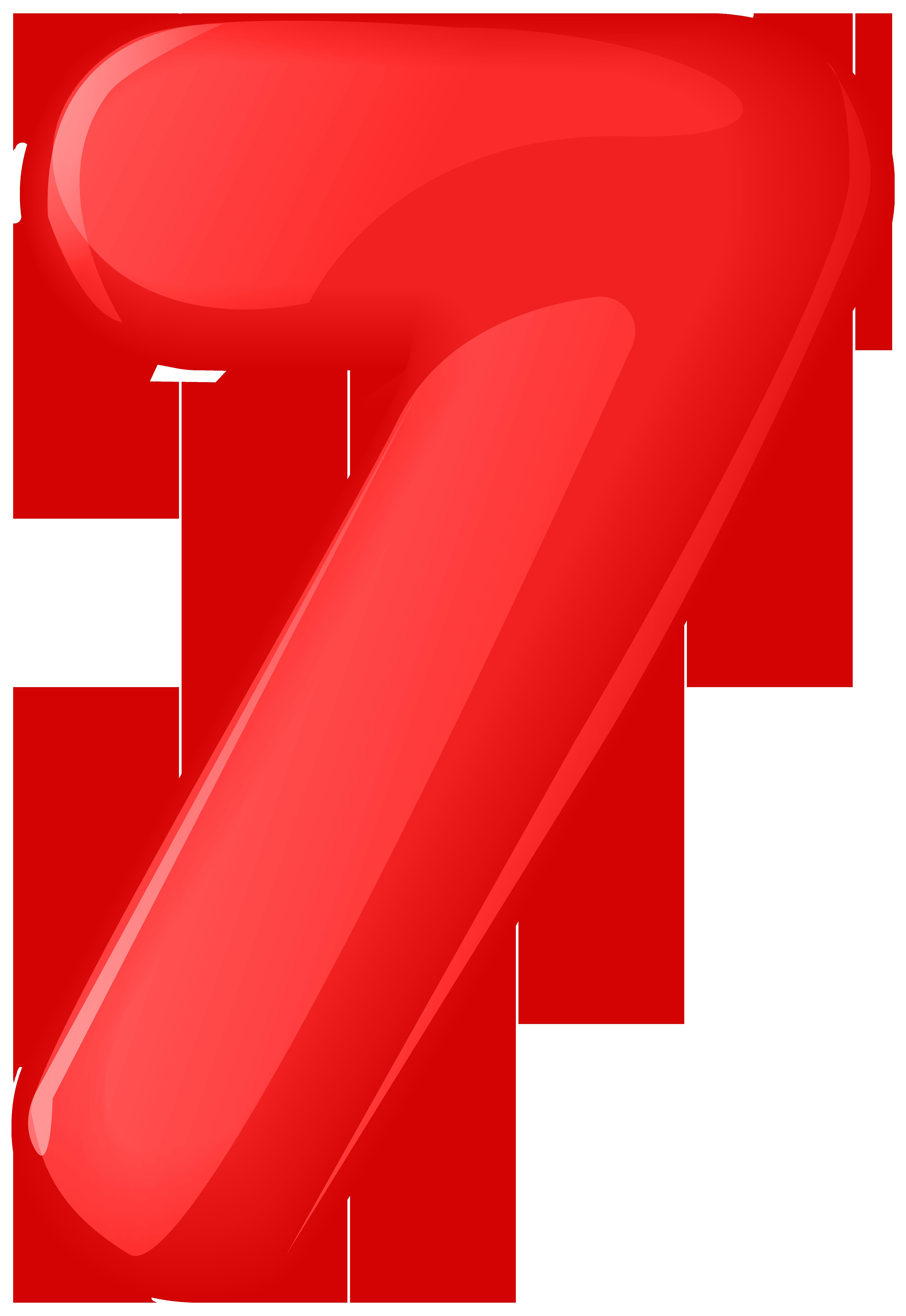 Red Number Seven Transparent PNG Clip Art.