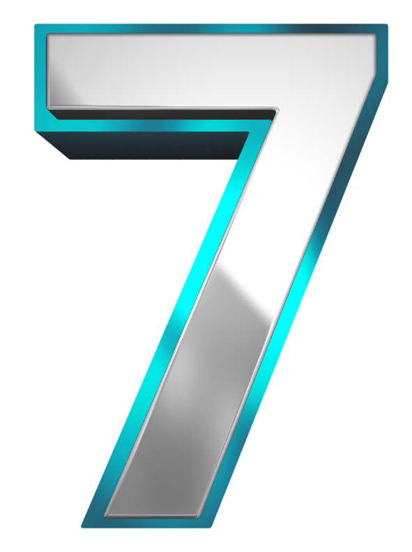 Metallic and Blue Number Seven PNG Clipart Image.
