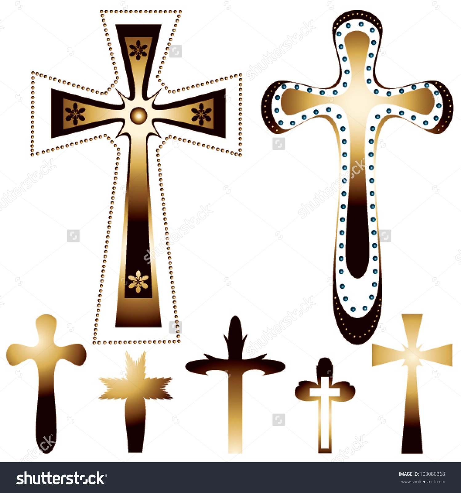 Set Of Seven Christian Crosses.