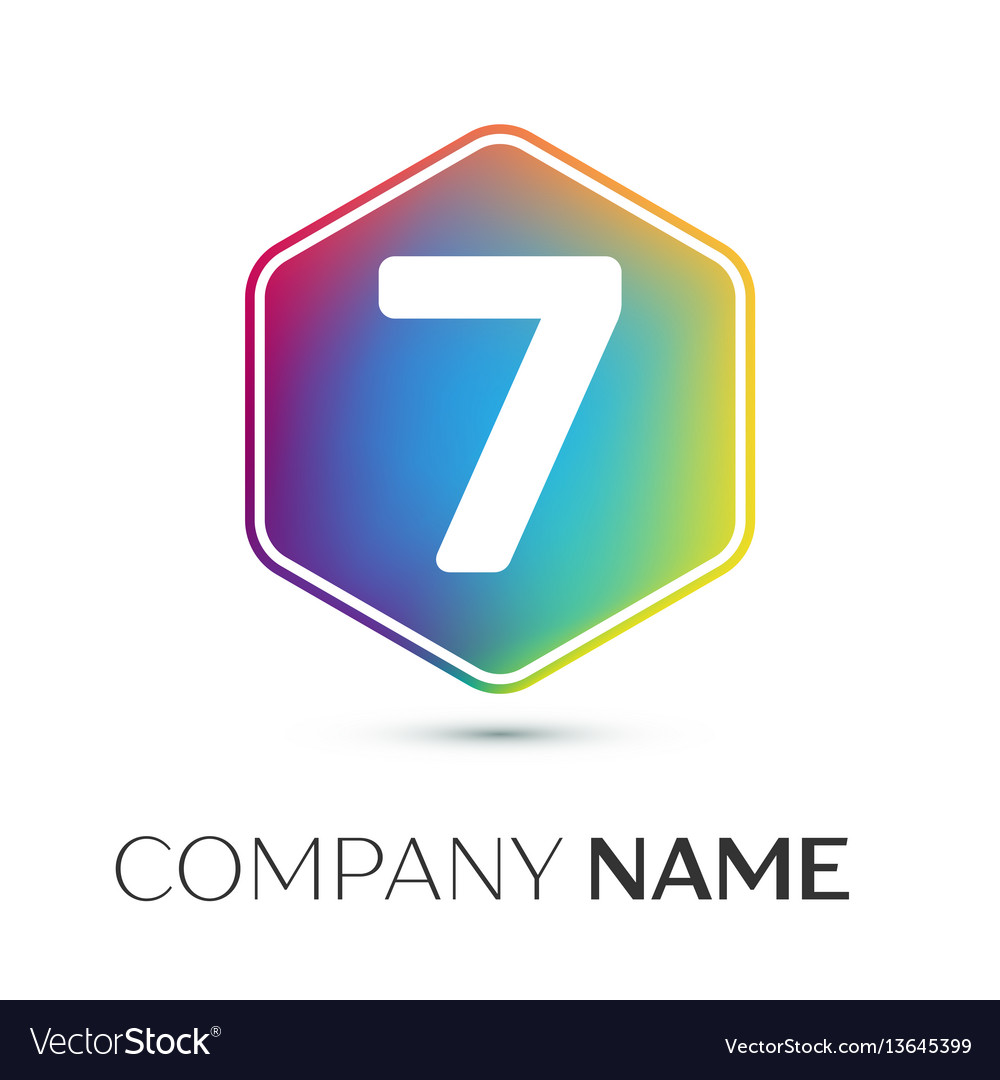 Number seven logo symbol in the colorful hexagonal.