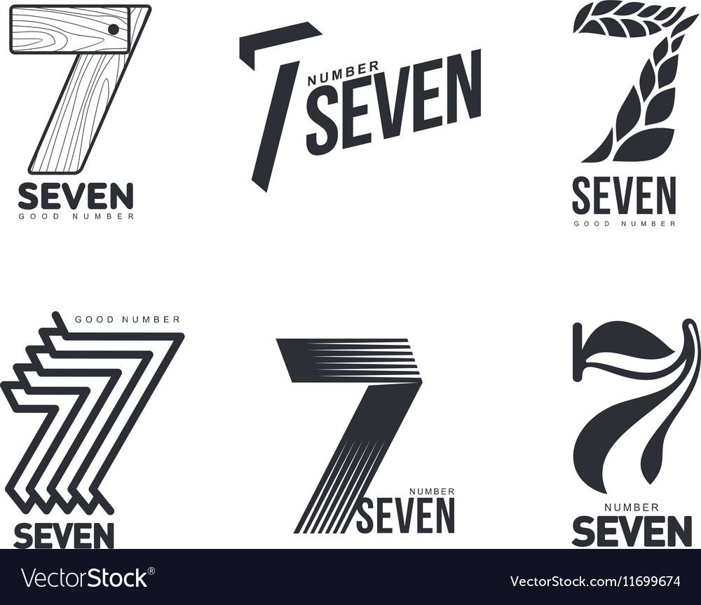 Set of black and white number seven logo templates.