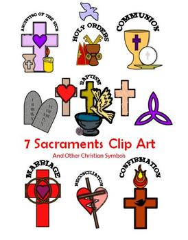 7 Sacraments & Other Christian Symbols Clip Art.