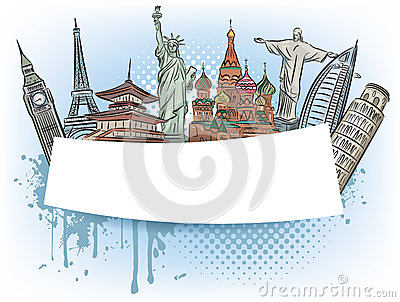 Travel To The Wonders Of The World Banner Stock Images.