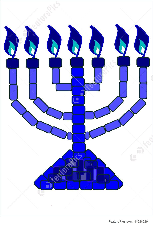 Religious Symbols: Blue Menorah.