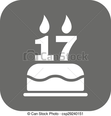 Clipart Vector of The birthday cake with candles in the form of.