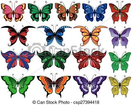 Vector Clip Art of Set of seventeen colorful butterflies.
