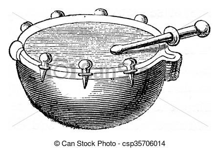 Clipart of Small timbale hand or naccaire the seventeenth century.