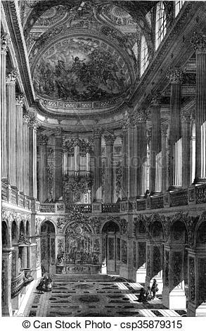 Clipart of Seventeenth century, Chapels of Versailles, vintage.