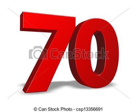 Stock Illustration of number seventy.