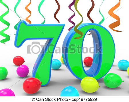 Clip Art of Number Seventy Party Meaning Surprise Birthday Party.