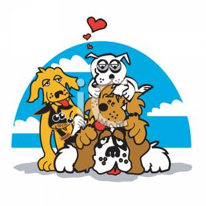 Cartoon of Several Dogs Piled on Top of Each Other.