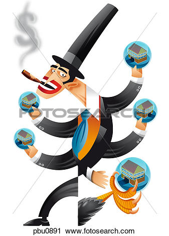 Clipart of A man holding several houses with multiple arms pbu0891.