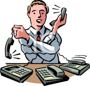 Person, a Man, Talking on Several Telephones At Once Clip Art Image.