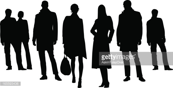 Silhouettes Of Several People Against White Background Vector Art.