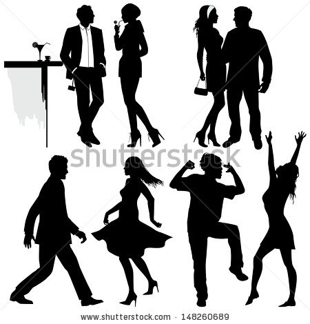 Several people are dancing on the party, vector silhouettes.