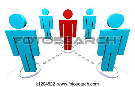 Clip Art of Network of Several People k1204822.