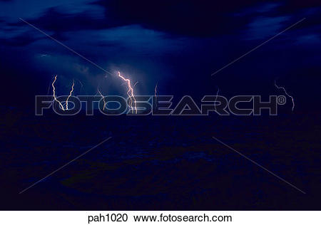 Stock Photography of Lightning strikes several times in a time.