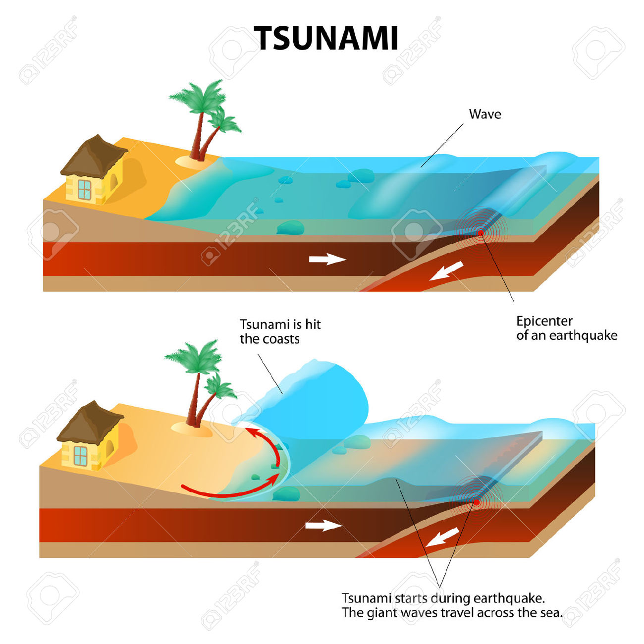 A Tsunami Is A Series Of Huge Waves. It Washes Against The Coast.