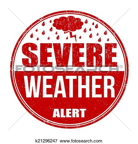 Clip Art of Severe weather alert stamp k21296247.