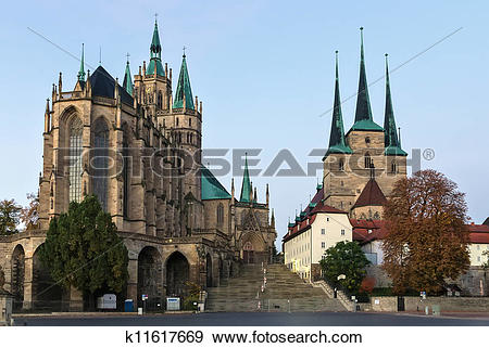 Stock Photograph of Erfurt Cathedral and Severikirche,Germany.