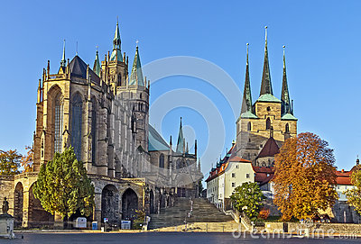 Erfurt Cathedral, Germany Royalty Free Stock Images.