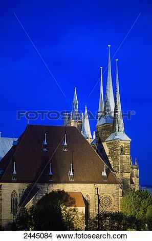 Stock Photo of Church lit up at dusk, Severikirche, Erfurt.