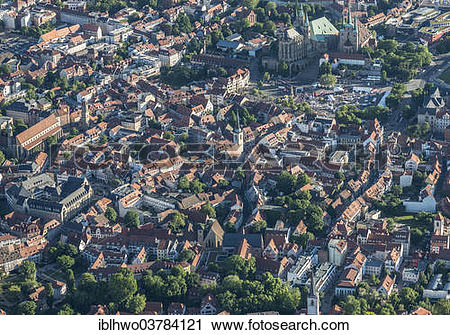 "Stock Photography of ""Aerial View, historic centre with Town Hall."