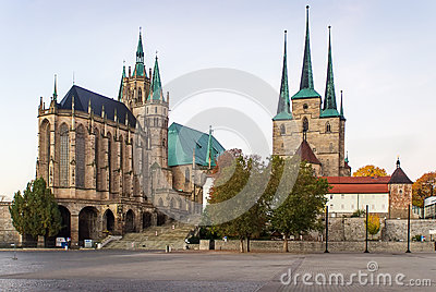 Erfurt Cathedral And Severikirche,Germany Stock Photo.