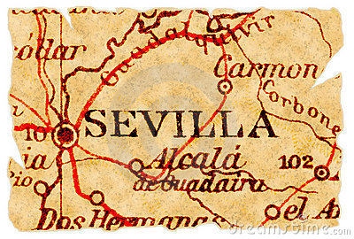 Sevilla Old Map Stock Photography.