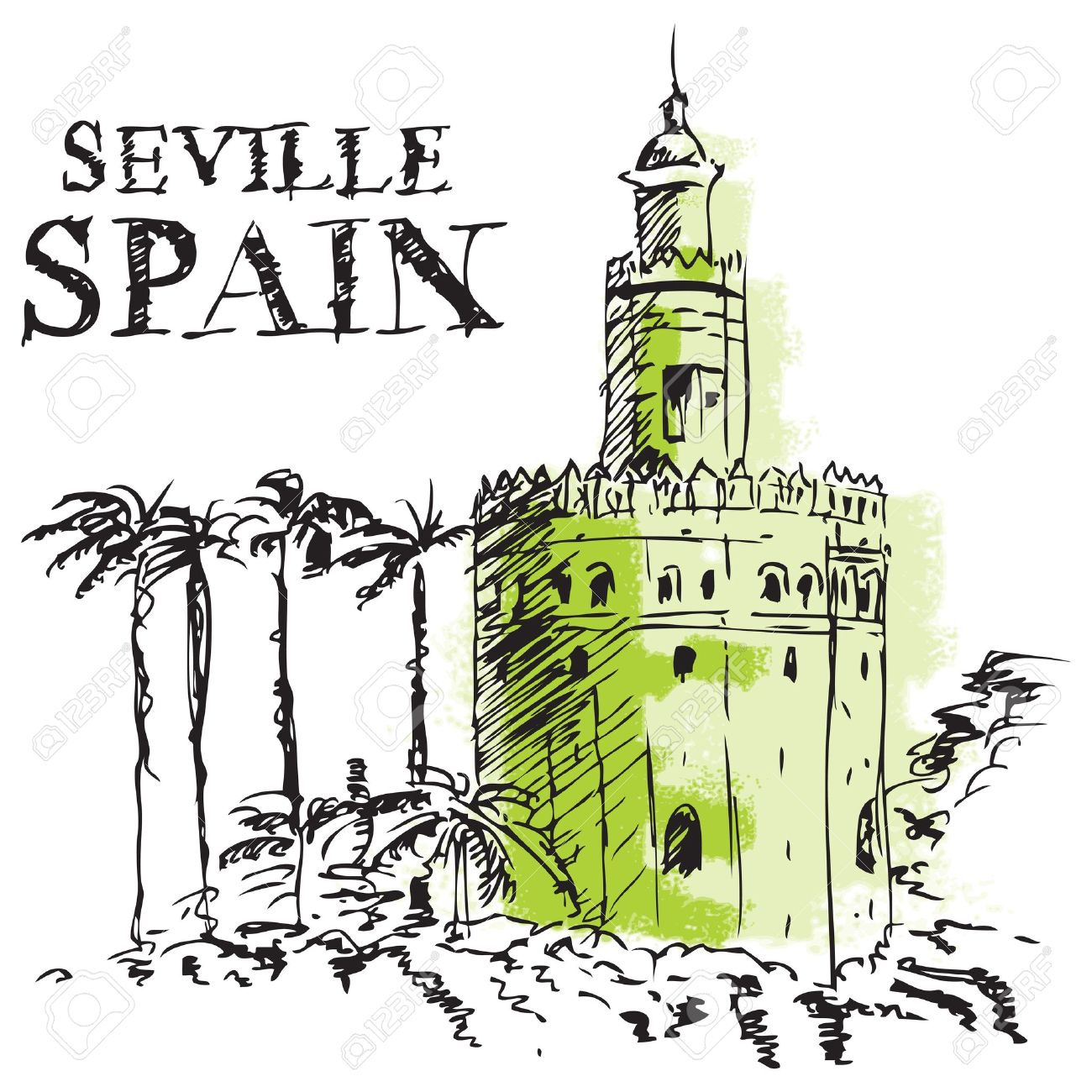 Illustration Of The Torre De Oro, Naval Tower In Seville, Spain.
