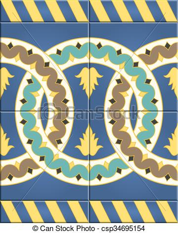 Clipart Vector of Arabic tiles seamless pattern. Seville, Spain.
