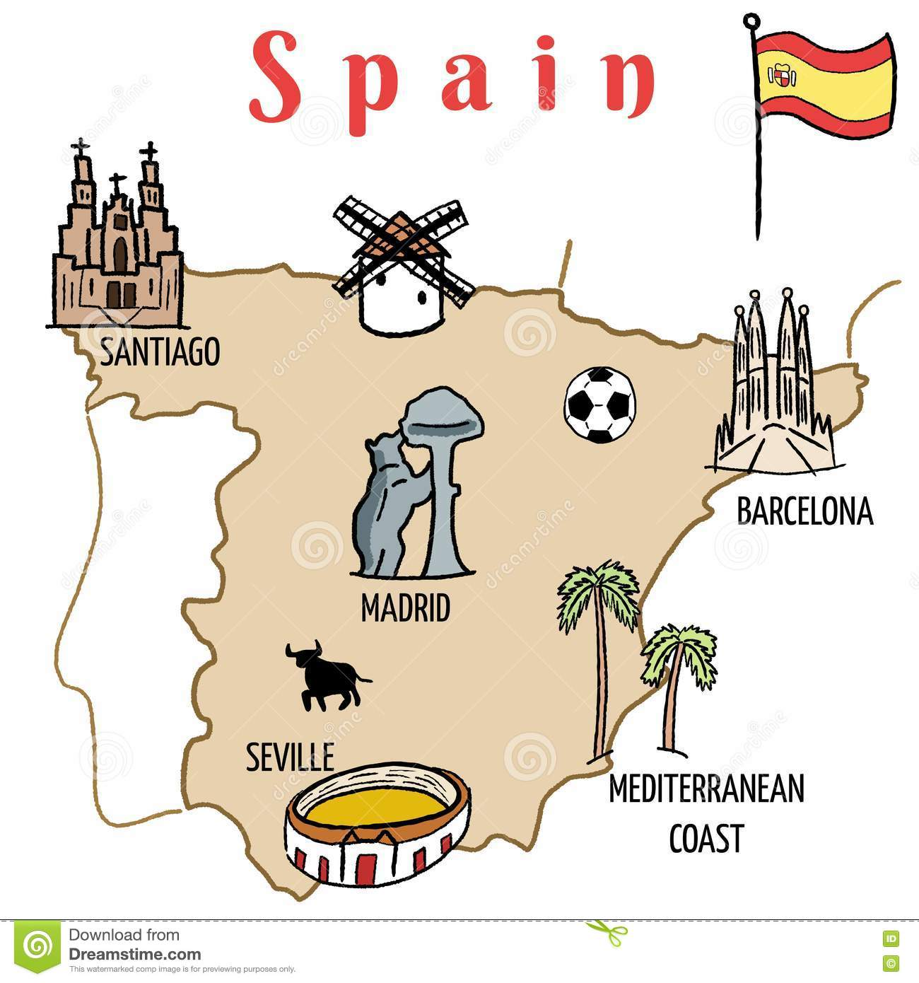 Spain Map Stock Vector.