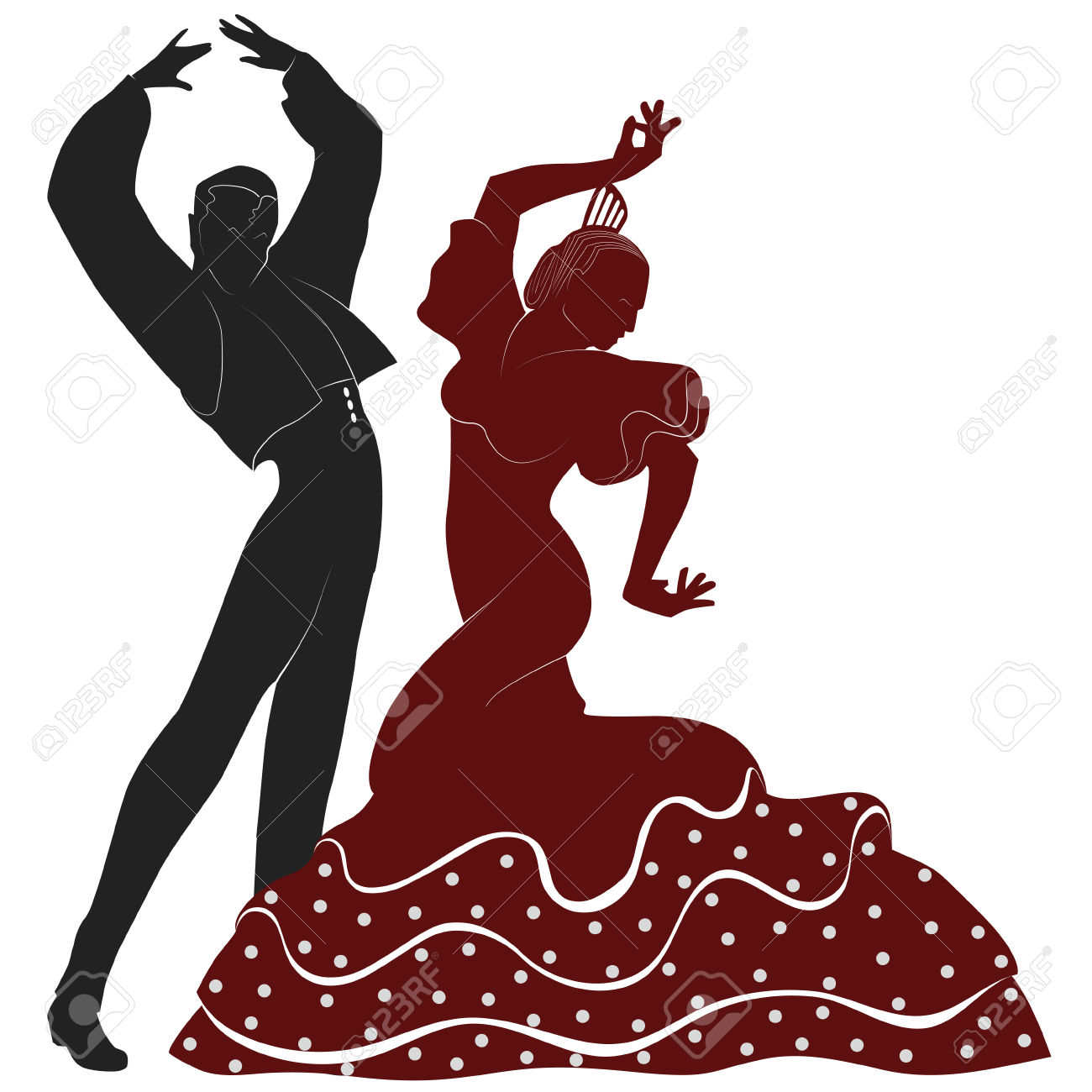 Two Typical Spanish Dancers From Seville Royalty Free Cliparts.