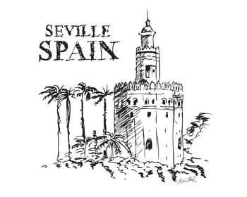 The Torre de Oro naval tower in Seville, Spain. by A Maitland.