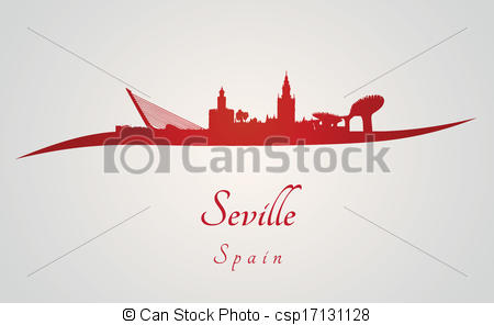 Vector Illustration of Seville skyline in red and gray background.