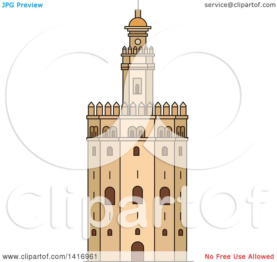 Clipart of a Sketched Spanish Landmark, Gold Tower in Seville.
