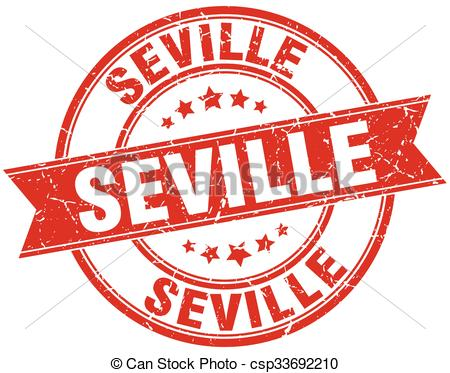 Vector Clip Art of Seville red round grunge vintage ribbon stamp.