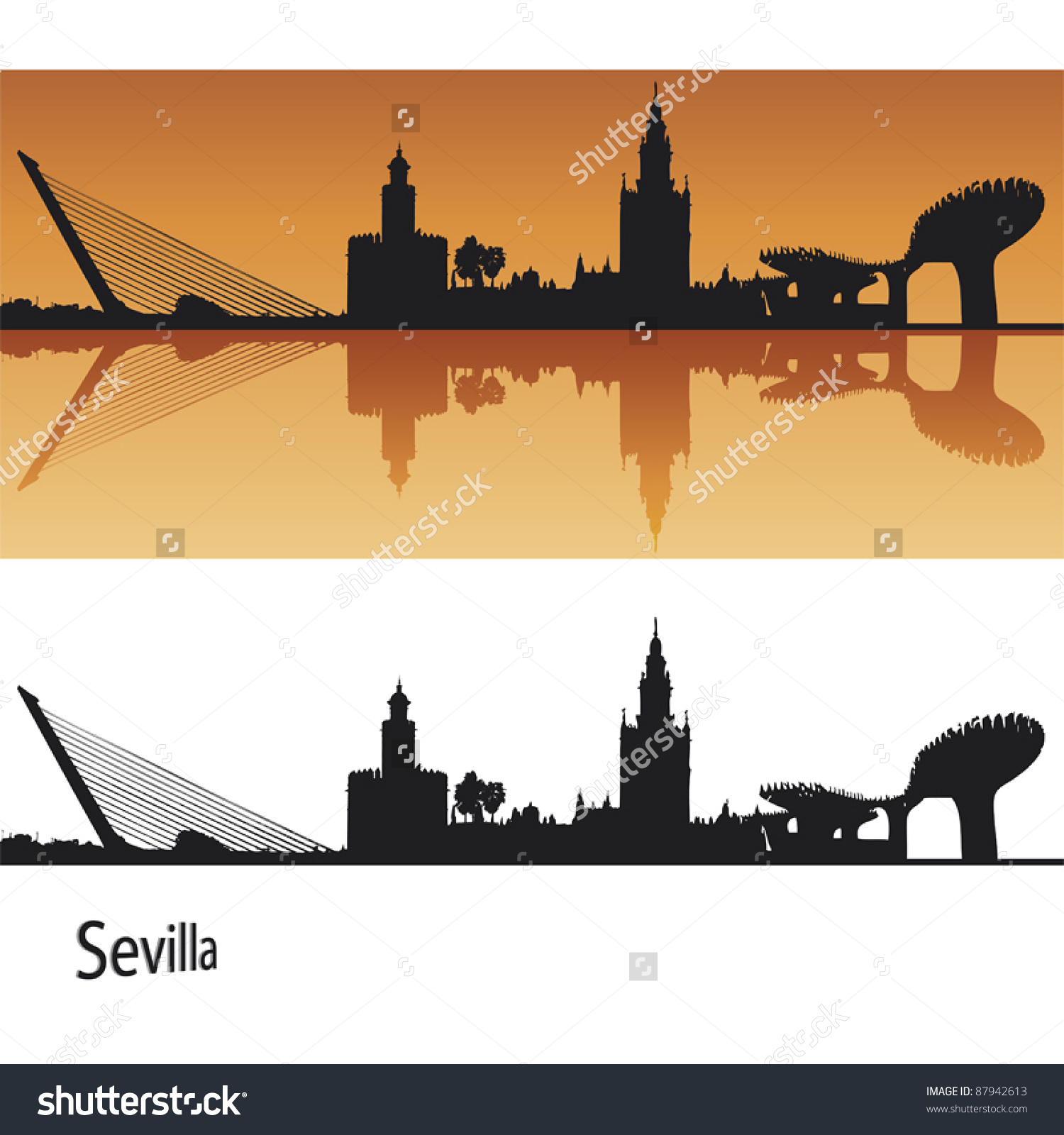 Seville Skyline Orange Background Editable Vector Stock Vector.