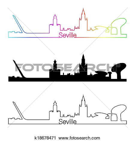 Clipart of Seville skyline linear style with rainbow k18678471.