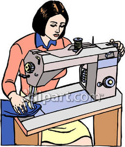 Person sewing clipart.
