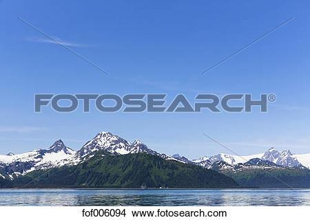 Stock Photo of USA, Alaska, Seward, Resurrection Bay, view to snow.