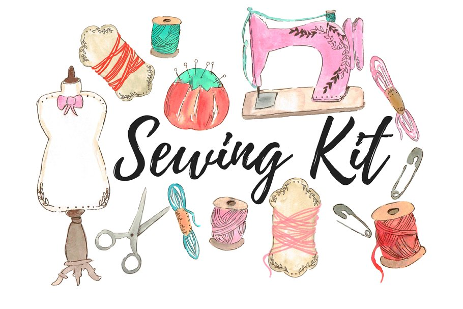 Watercolor fashion sewing clipart.