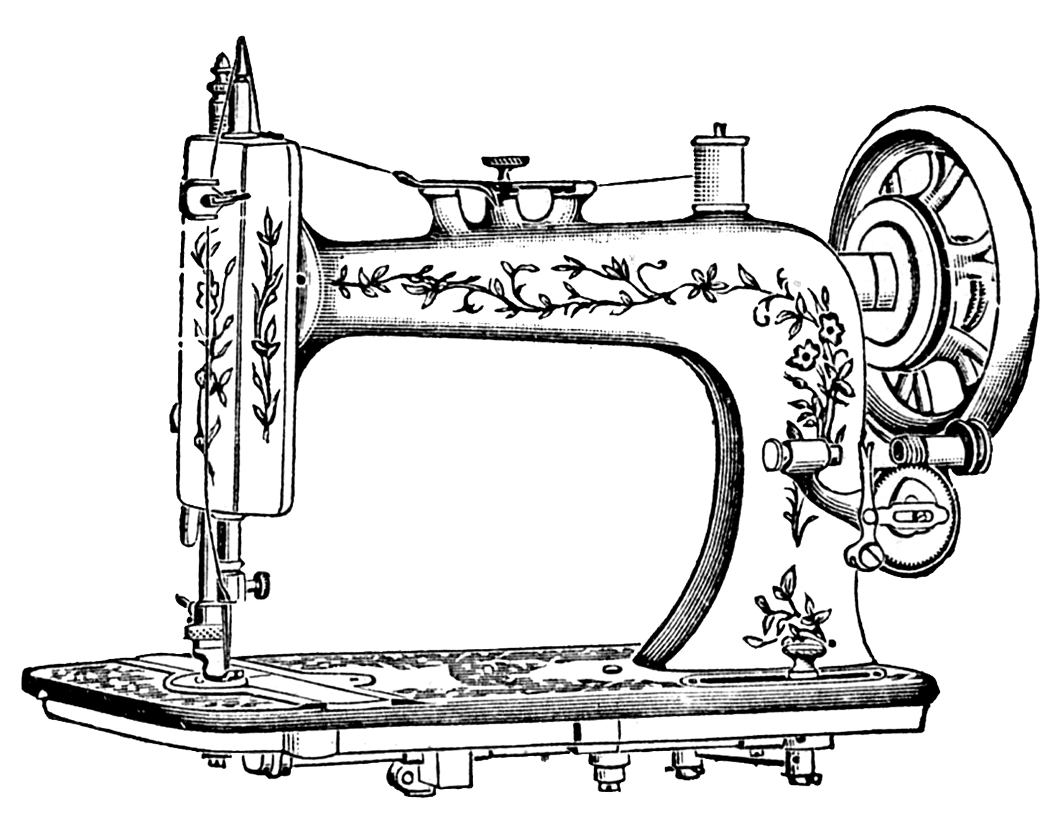 Antique clip art pretty white sewing machine the graphics.