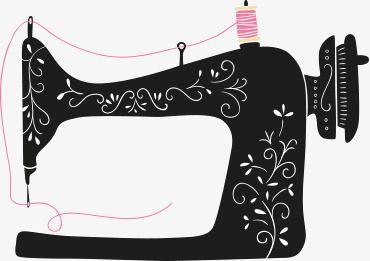 Black Sewing Machine, Hand Painted, Cartoon, Black PNG.