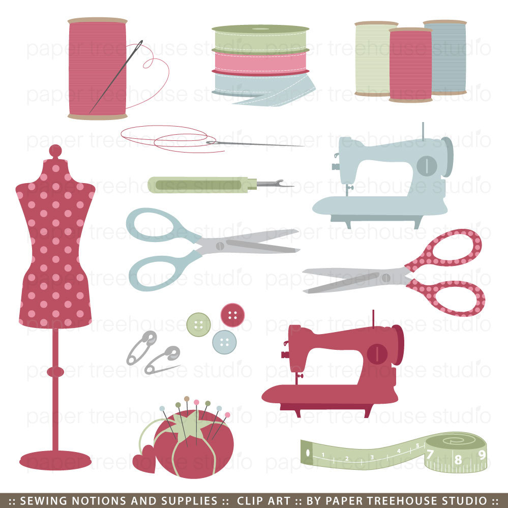 Sewing notions clipart.