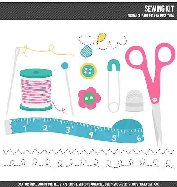 Sewing Kit Digital Clipart Clip Art Illustrations.