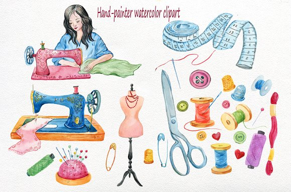 Sewing Machine Clipart,watercolor.
